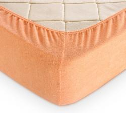 Купить персиковую махровую простынь на резинке